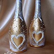 """Свадебный салон ручной работы. Ярмарка Мастеров - ручная работа Украшение свадебных бутылок """"Богемия"""". Handmade."""