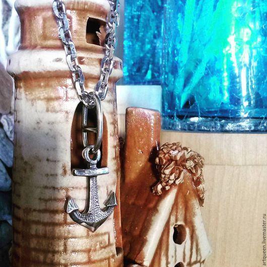"""Кулоны, подвески ручной работы. Ярмарка Мастеров - ручная работа. Купить Серебряный комплект """"Морячок"""" якорь + цепочка. Handmade."""