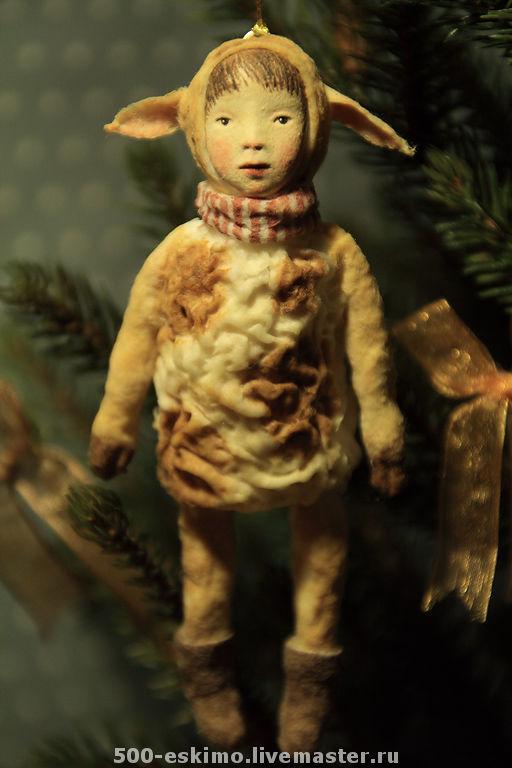 Новый год 2017 ручной работы. Ярмарка Мастеров - ручная работа. Купить Овечка ёлочная игрушка из ваты. Handmade. Вата