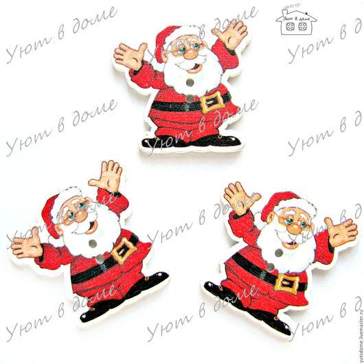 """Шитье ручной работы. Ярмарка Мастеров - ручная работа. Купить 0528 Пуговицы деревянные """"Дед Мороз"""". Handmade. Дерево"""