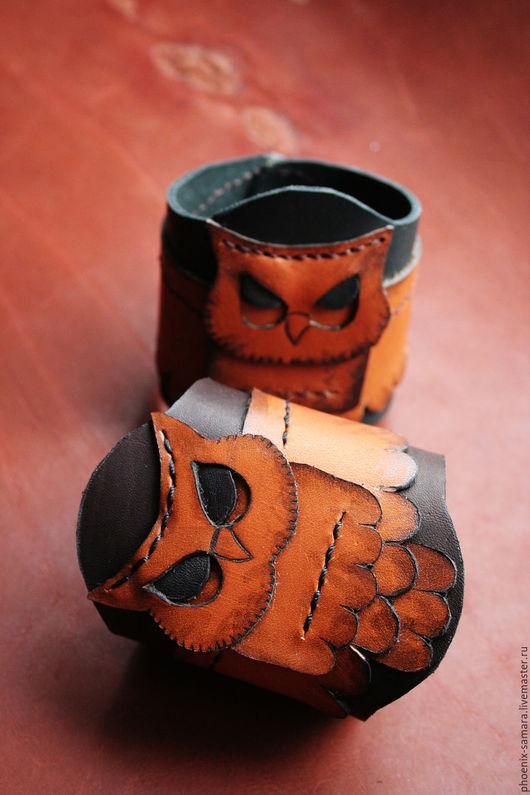 Браслеты ручной работы. Ярмарка Мастеров - ручная работа. Купить Браслет из натуральной кожи Сова. Handmade. Комбинированный, самара, phoenix
