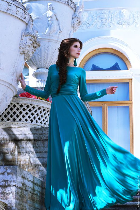 Платья ручной работы. Ярмарка Мастеров - ручная работа. Купить Длинное платье с рукавами Адель. Handmade. Длинное платье