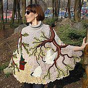 """Одежда ручной работы. Ярмарка Мастеров - ручная работа Пончо """"Белый журавль"""". Handmade."""