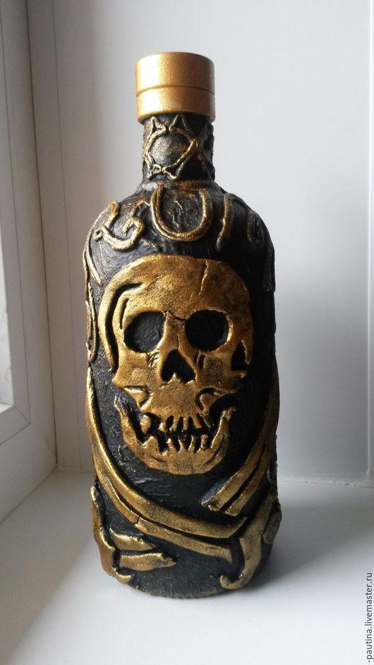 Декоративная посуда ручной работы. Ярмарка Мастеров - ручная работа. Купить пиратская бутылка. Handmade. Бутылка, подарочная бутылка