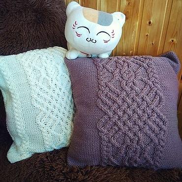Textiles handmade. Livemaster - original item Decorative knitted cushion 40h40 cm Pillow case pillow Case.. Handmade.