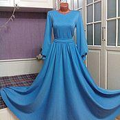 Одежда ручной работы. Ярмарка Мастеров - ручная работа Трикотажное платье макси Небесно-голубое с юбкой полусолнце. Handmade.