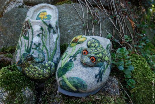 Обувь ручной работы. Ярмарка Мастеров - ручная работа. Купить Тапочки 42 «Лягушки к деньгам». Handmade. Серый