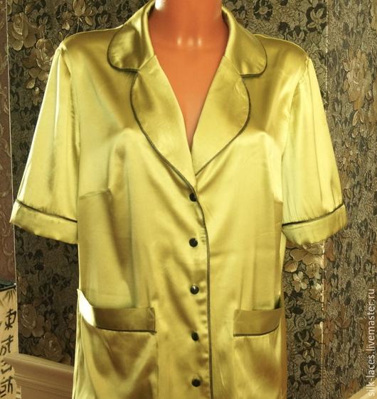 Белье ручной работы. Ярмарка Мастеров - ручная работа. Купить Классическая пижама женская из натурального шёлка. Handmade. Мятный