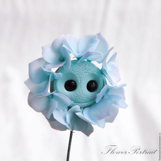 """Броши ручной работы. Ярмарка Мастеров - ручная работа. Купить Брошь """"Гортензия"""". Handmade. Голубой, цветы из полимерной глины"""