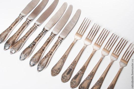 Винтажная посуда. Ярмарка Мастеров - ручная работа. Купить 12 шт. Набор столовых проборов ножи, вилки мельхиор винтаж. Handmade.