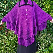 Одежда ручной работы. Ярмарка Мастеров - ручная работа Красивое вязаное пончо большого размера с рукавами. Handmade.