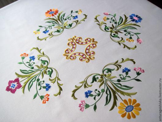 Вышитая скатерть Скатерть с вышивкой Круглая скатерть Ткань с тефлоновым покрытием