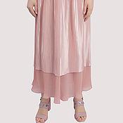 Одежда handmade. Livemaster - original item Skirt pink powder satin chiffon floor length. Handmade.