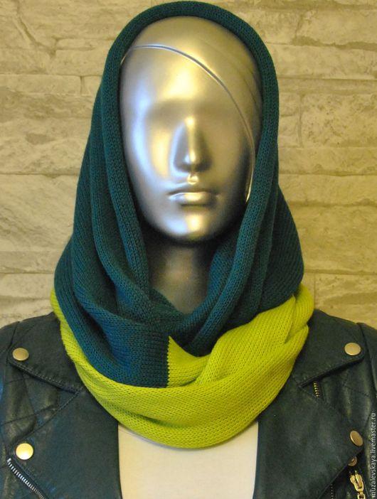 Шарфы и шарфики ручной работы. Ярмарка Мастеров - ручная работа. Купить Вязаный шарф-снуд. Handmade. Тёмно-бирюзовый