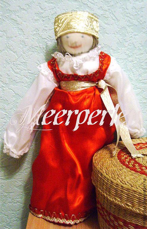 Народные куклы ручной работы. Ярмарка Мастеров - ручная работа. Купить Кукла в русском народном праздничном костюме. Handmade. атлас