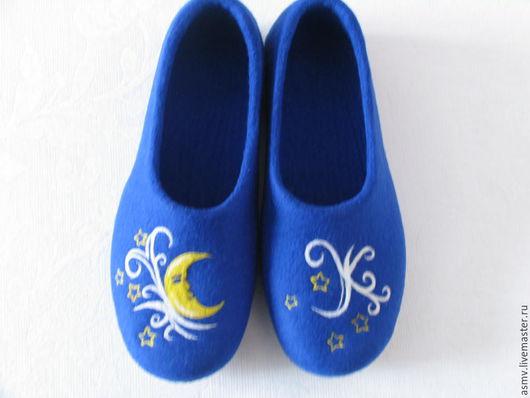 Обувь ручной работы. Ярмарка Мастеров - ручная работа. Купить Тапочки валяные, с рисунком, ночь.. Handmade. Тапочки, тапочки шерстяные