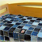 Для дома и интерьера ручной работы. Ярмарка Мастеров - ручная работа Джинсовое лохматое/потрепанное покрывало, односпальное. Handmade.