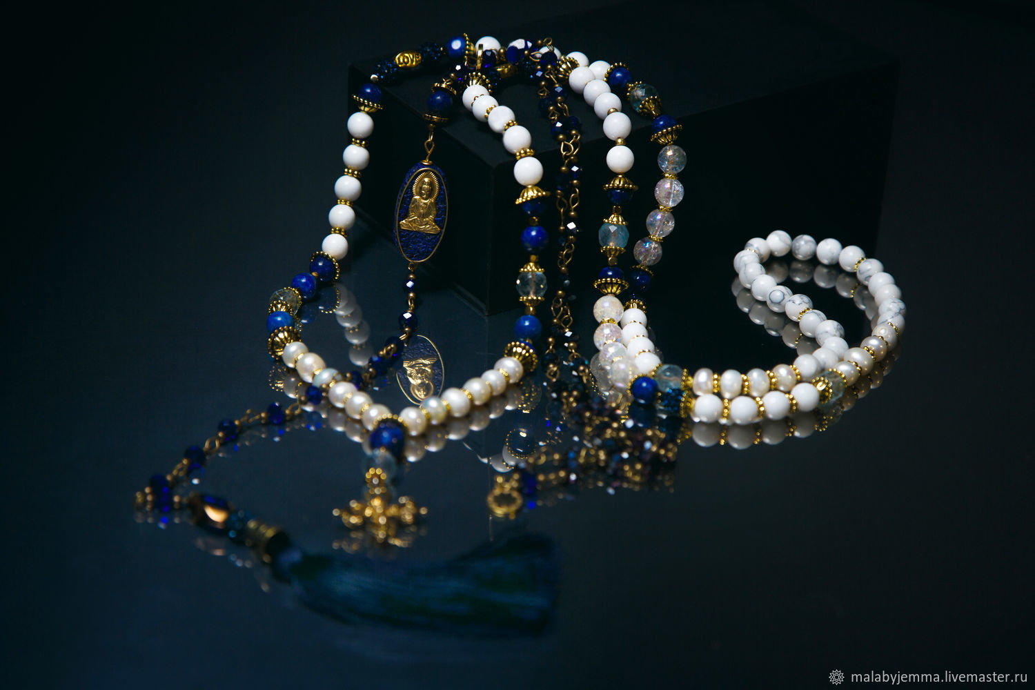 Beads of Sicily with lapis lazuli, Necklace, Magnitogorsk,  Фото №1