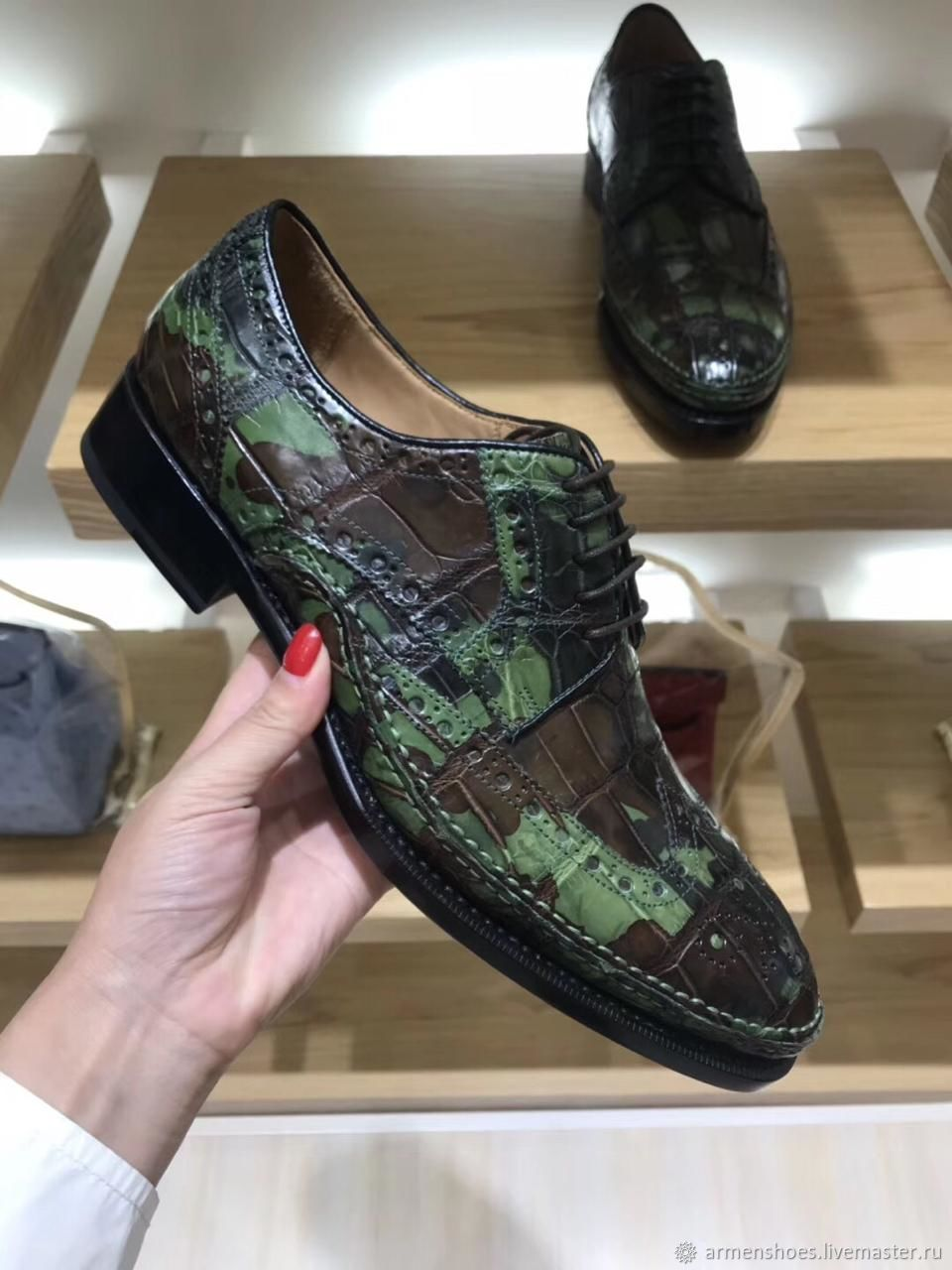 Crocodile brogues, in exclusive camouflage paint, to order!, Brogues, Tosno,  Фото №1