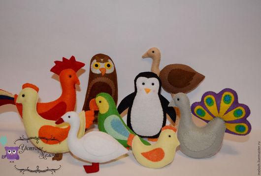 """Развивающие игрушки ручной работы. Ярмарка Мастеров - ручная работа. Купить Игрушки из фетра  """"Птицы"""". Handmade. Разноцветный, пособие, животные"""