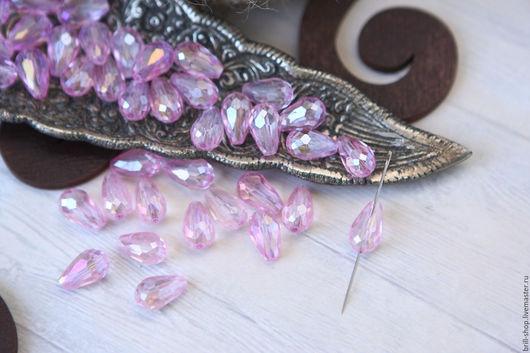 """Для украшений ручной работы. Ярмарка Мастеров - ручная работа. Купить Бусины """"Капля"""" 8х11 мм Pink (Розовый) (10шт). Handmade."""