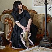"""Платья ручной работы. Ярмарка Мастеров - ручная работа Бохо - платье чёрное из льна с вышивкой """"БЕЗВРЕМЕНЬЕ"""". Handmade."""