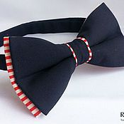 Аксессуары handmade. Livemaster - original item Tie seahorse / butterfly dark blue with stripes. Handmade.