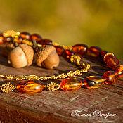 """Украшения ручной работы. Ярмарка Мастеров - ручная работа Бусы """"Янтарная осень"""" из янтаря и золотого бисера. Handmade."""