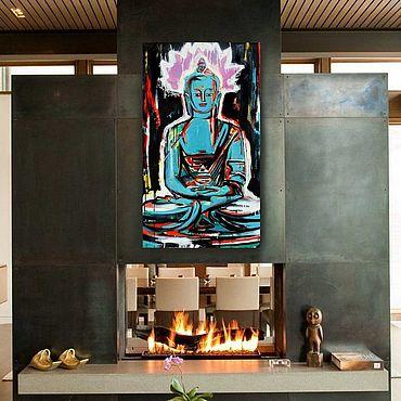 """Картины и панно ручной работы. Ярмарка Мастеров - ручная работа """"Будда изумрудный""""  Будда Нирвана Восток Черный Фиолетовый. Handmade."""