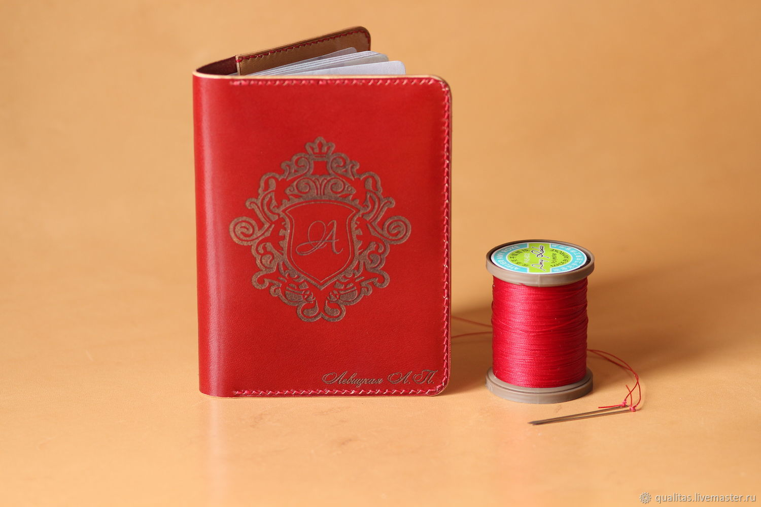 Passport cover in red and beige with personalization, Passport cover, Rostov-on-Don,  Фото №1