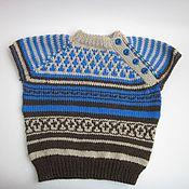 Работы для детей, handmade. Livemaster - original item Children`s knitted vest (tank top) Ornament. Handmade.