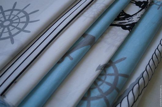 """Шитье ручной работы. Ярмарка Мастеров - ручная работа. Купить Набор тканей хлопок  для пэчворка """" Морской"""". Handmade."""