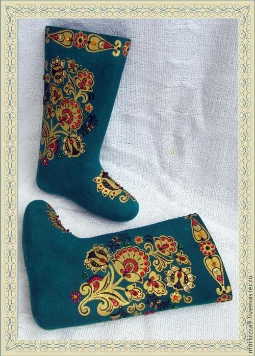 """Обувь ручной работы. Ярмарка Мастеров - ручная работа. Купить Валенки """"Изумруд"""" (женские). Handmade. Валенки, ручная работа, стразы"""