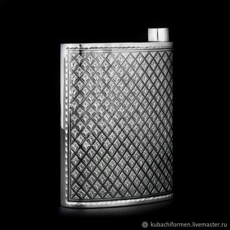 Серебряная двухсторонняя фляга «Град». 875 проба, Подарки, Москва, Фото №1