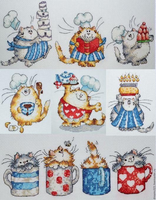 """Фантазийные сюжеты ручной работы. Ярмарка Мастеров - ручная работа. Купить Вышитые картины для кухни """"коты Маргарет Шерри"""". Handmade."""