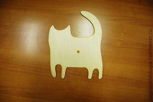 Часы `Кот с хвостом` Размер: 24х30 см Материал: фанера 3 мм