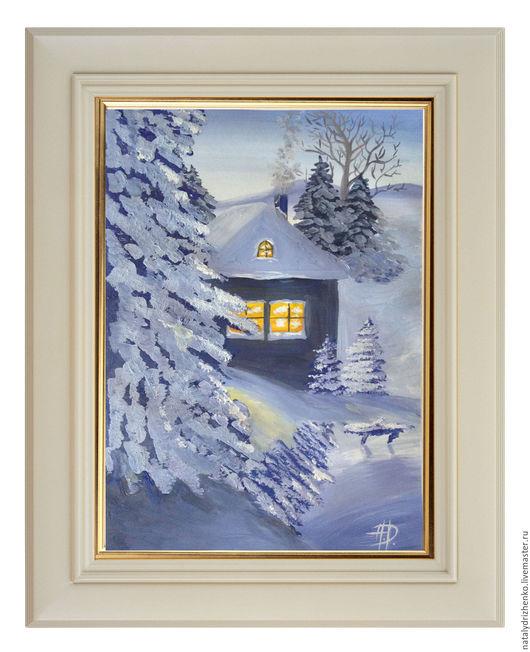 """Пейзаж ручной работы. Ярмарка Мастеров - ручная работа. Купить Картина """"Рождественская ночь"""". Handmade. Разноцветный, картина в подарок"""