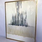 """Картины ручной работы. Ярмарка Мастеров - ручная работа """"Капучино"""" картина абстракция в сером в интерьер. Handmade."""