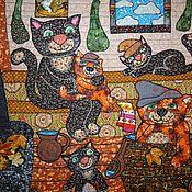 """Картины и панно ручной работы. Ярмарка Мастеров - ручная работа Панно """" Попаримся? Мяууу"""". Handmade."""