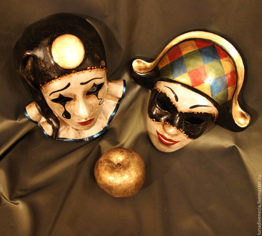 Маски венецианские Пьеро и Арлекино (пара) – купить в ... - photo#4