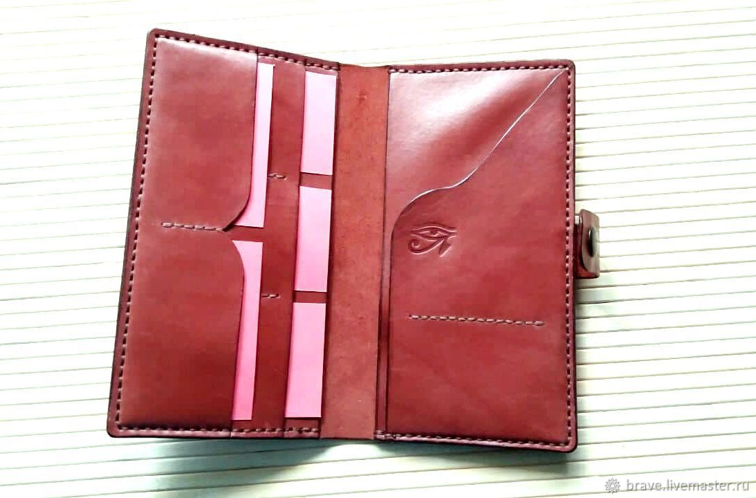 Docfolder purse genuine leather brown eye of Horus, Wallets, Moscow,  Фото №1