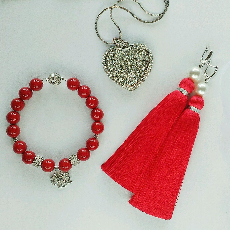 Earring of the brush ' Dream of Red', Tassel earrings, St. Petersburg,  Фото №1