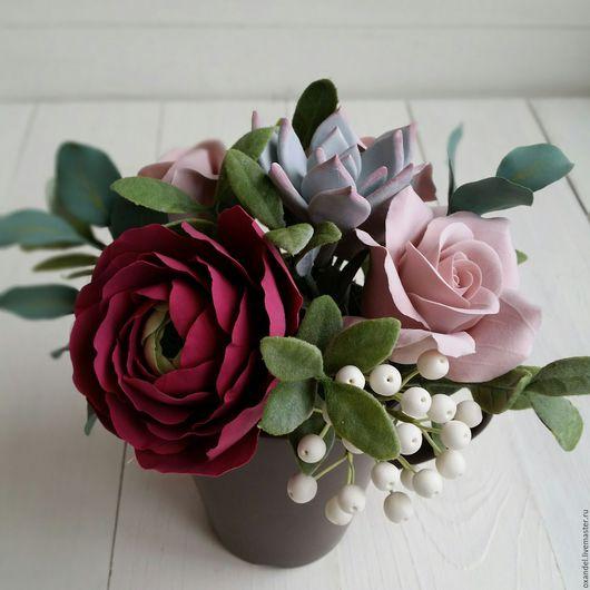 Букеты ручной работы. Ярмарка Мастеров - ручная работа. Купить Букетик в чашке с ранункулюсом и розами. Handmade. Коричневый, букет цветов