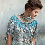 Одежда handmade. Livemaster - original item Blouse made of cotton with turquoise lace.. Handmade.
