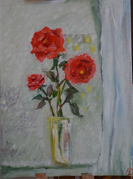 Картины цветов ручной работы. Ярмарка Мастеров - ручная работа. Купить Погода. Handmade. Ярко-красный, окно, цветы на окне