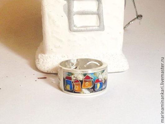Кольца ручной работы. Ярмарка Мастеров - ручная работа. Купить Кольцо Зимний город с перегородчатой эмалью. Handmade. Комбинированный