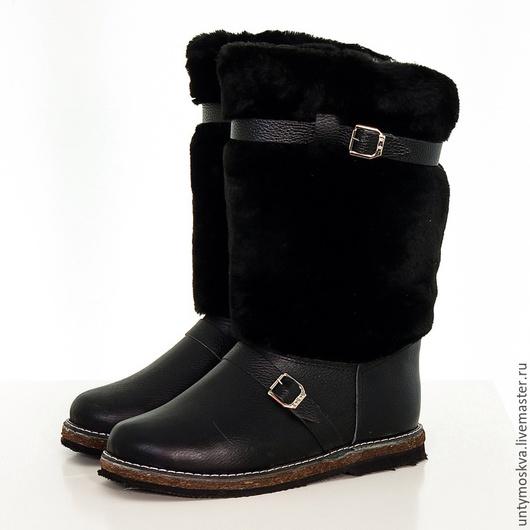 Обувь ручной работы. Ярмарка Мастеров - ручная работа. Купить Унты мужские подошва войлок. Handmade. Черный, мужская обувь