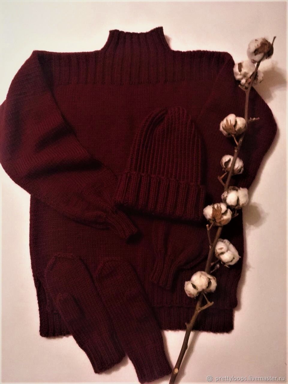 Sweater Hat and mittens in the color' Ripe cherries ', Sweaters, Ekaterinburg,  Фото №1