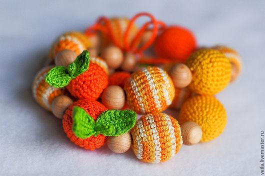 """Колье, бусы ручной работы. Ярмарка Мастеров - ручная работа. Купить Слингобусы """"Мандариновые"""". Handmade. Рыжий, мамабусы, бусы, апельсины"""
