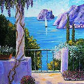 "Картины и панно handmade. Livemaster - original item ""Terrace by the sea"" Oil painting Mediterranean. Handmade."
